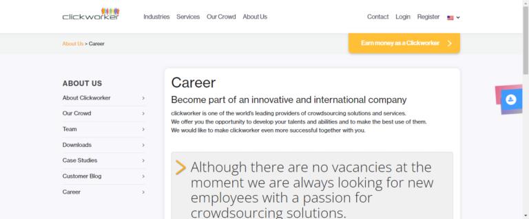 Clickworker career website.