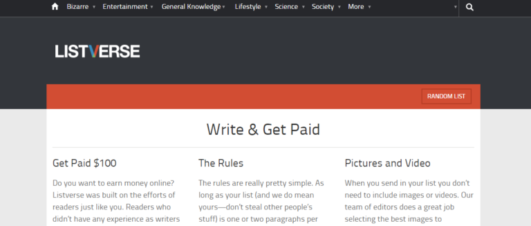 Listverse.com's website