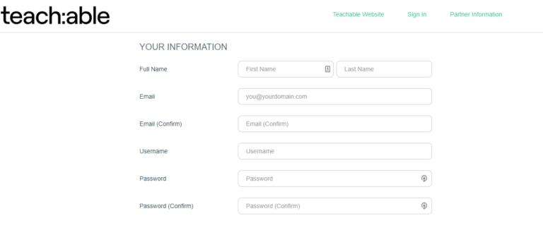 Screenshot of teachable affiliate program sign up form