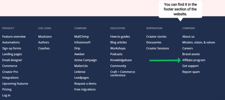 Screenshot of where to find affiliate program on a website