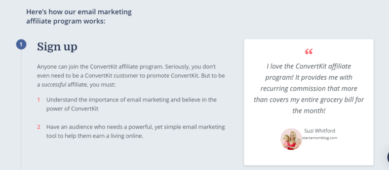 Screenshot of requirements when signing up as an affiliate for convertkit