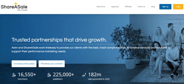 ShareAsale.com's website