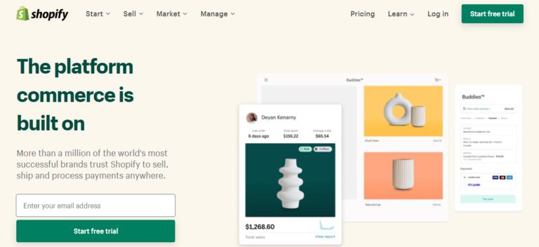 Shopify.com's website