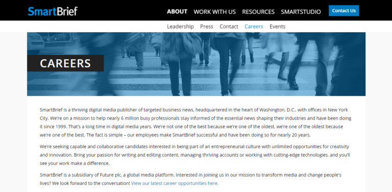 Smartbrief.com's website careers page