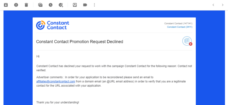 screenshot of declined from affiliate program constant contact