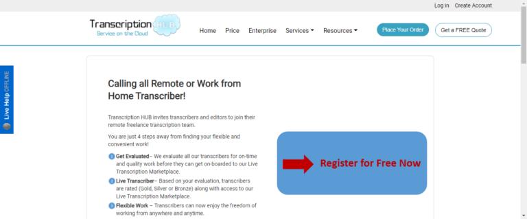 Transcription hub website